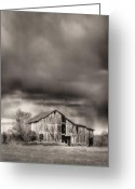Black And White Barn Greeting Cards - The Smell of Rain Greeting Card by JC Findley