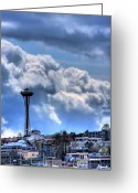 Seattle Greeting Cards - The Space Needle Greeting Card by David Patterson