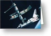 Shuttle Greeting Cards - The Space Shuttle Docked With A Space Station Greeting Card by Stockbyte