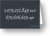 Speed Greeting Cards - The Speed of Light Greeting Card by Michael Tompsett