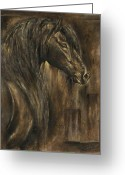 Graphite Reliefs Greeting Cards - The Spirit of a Horse Greeting Card by Paula Collewijn -  The Art of Horses