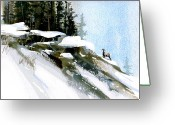 Bighorn Greeting Cards - The Steep Climb Greeting Card by Paul Sachtleben