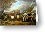 Flag Greeting Cards - The Surrender of General Burgoyne Greeting Card by War Is Hell Store