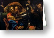 Michelangelo Greeting Cards - The Taking of Christ Greeting Card by Michelangelo Caravaggio