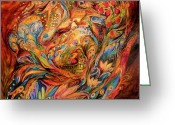 Original Greeting Cards - The tale about fiery Rooster Greeting Card by Elena Kotliarker