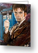 David Greeting Cards - The Tenth Doctor and his TARDIS Greeting Card by Emily Jones
