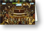 National Flag Greeting Cards - The Trading Floor Of The New York Stock Greeting Card by Justin Guariglia