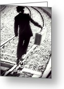 Railroad Tracks Greeting Cards - The Tramp Greeting Card by Joana Kruse