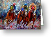 Churchill Downs Greeting Cards - The Turn Greeting Card by Debra Hurd