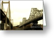 Eastbay Greeting Cards - The Two Carquinez Bridges At Crockett and Vallejo California . aka Alfred Zampa Memorial Bridge . 7D8830 Greeting Card by Wingsdomain Art and Photography
