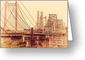 Old Postcards Greeting Cards - The Two Carquinez Bridges At Crockett and Vallejo California . aka Alfred Zampa Memorial Bridge . 7D8919 Greeting Card by Wingsdomain Art and Photography
