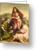 Virgin Maria Greeting Cards - The Virgin and Child with a Saint and an Angel Greeting Card by Andrea del Sarto