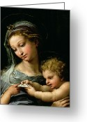 Xmas Greeting Cards - The Virgin of the Rose Greeting Card by Raphael