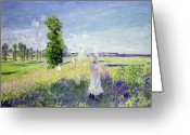 Male Greeting Cards - The Walk Greeting Card by Claude Monet