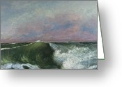 Sunset Scenes. Painting Greeting Cards - The Wave Greeting Card by Gustave Courbet