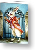 Pocket Painting Greeting Cards - The White Rabbit Greeting Card by Lucia Stewart