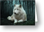 White Wolf Greeting Cards - The White Wolf Greeting Card by Julie L Hoddinott