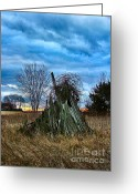 Artography Greeting Cards - The Woodstack Greeting Card by Julie Dant