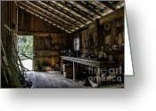 Wood Plank Flooring Greeting Cards - The Workshop Greeting Card by Lynn Palmer