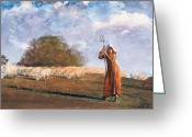 Lambing Greeting Cards - The Young Shepherdess Greeting Card by Winslow Homer