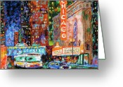 Chicago Artist Greeting Cards - Theater Night Greeting Card by J Loren Reedy