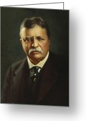 Theodore Greeting Cards - Theodore Roosevelt - President of the United States Greeting Card by International  Images