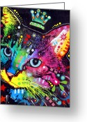 Colorful Mixed Media Greeting Cards - Thinking Cat Crowned Greeting Card by Dean Russo