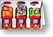 Can Art Greeting Cards - Three Candy Machines Greeting Card by Wingsdomain Art and Photography