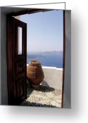Thira Photo Greeting Cards - Through This Door Greeting Card by Julie Palencia