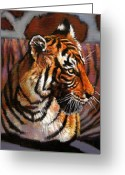 Tiger Tapestries Textiles Greeting Cards - Tiger Greeting Card by John Lautermilch