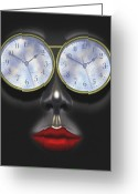 Sensual Digital Art Greeting Cards - Time In Your Eyes Greeting Card by Mike McGlothlen