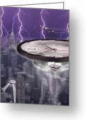 Clocks Greeting Cards - Time Travelers 2 Greeting Card by Mike McGlothlen