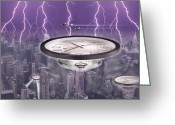Clocks Greeting Cards - Time Travelers Greeting Card by Mike McGlothlen