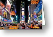 Nighttime Greeting Cards - Times Square Greeting Card by June Marie Sobrito