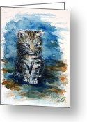Most Painting Greeting Cards - Timid kitten Greeting Card by Zaira Dzhaubaeva