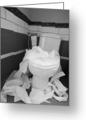 Toilet Paper Greeting Cards - Toilet Paper Strewn in a Bathroom Greeting Card by Marlene Ford