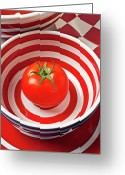 Plates Greeting Cards - Tomato in red and white bowl Greeting Card by Garry Gay
