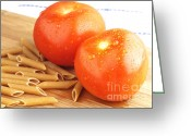 Wooden Board Greeting Cards - Tomatoes and pasta Greeting Card by Blink Images