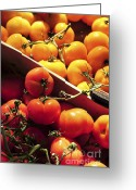 Vendor Greeting Cards - Tomatoes on the market Greeting Card by Elena Elisseeva