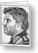 All Star Drawings Greeting Cards - Tony Stewart in 2011 Greeting Card by J McCombie