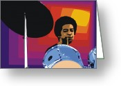 Drum Sticks Greeting Cards - Tony Williams Greeting Card by Walter Neal