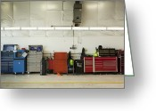Maintenance Greeting Cards - Tool Chests In An Automobile Repair Shop Greeting Card by Don Mason