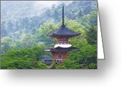 Miyajima Greeting Cards - Top of a Pagoda Greeting Card by Jeremy Woodhouse
