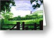 Tor Painting Greeting Cards - Tor in Glastonbury Greeting Card by John D Benson