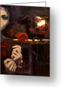 Eyes.fantasy Greeting Cards - Touching the ephemeral Greeting Card by Dorina  Costras