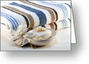 Body Scrub Greeting Cards - Towel with soap Greeting Card by Blink Images