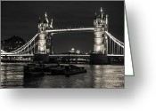 Tower Of London Greeting Cards - Tower Bridge and Barges Greeting Card by Dawn OConnor