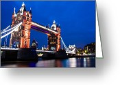 Night Shots Greeting Cards - Tower Bridge at Night Greeting Card by Dawn OConnor