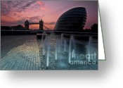 City Hall Greeting Cards - Tower Bridge Sunrise Greeting Card by Donald Davis