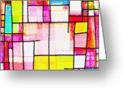 Abstract Bright Color Greeting Cards - Town Greeting Card by Setsiri Silapasuwanchai